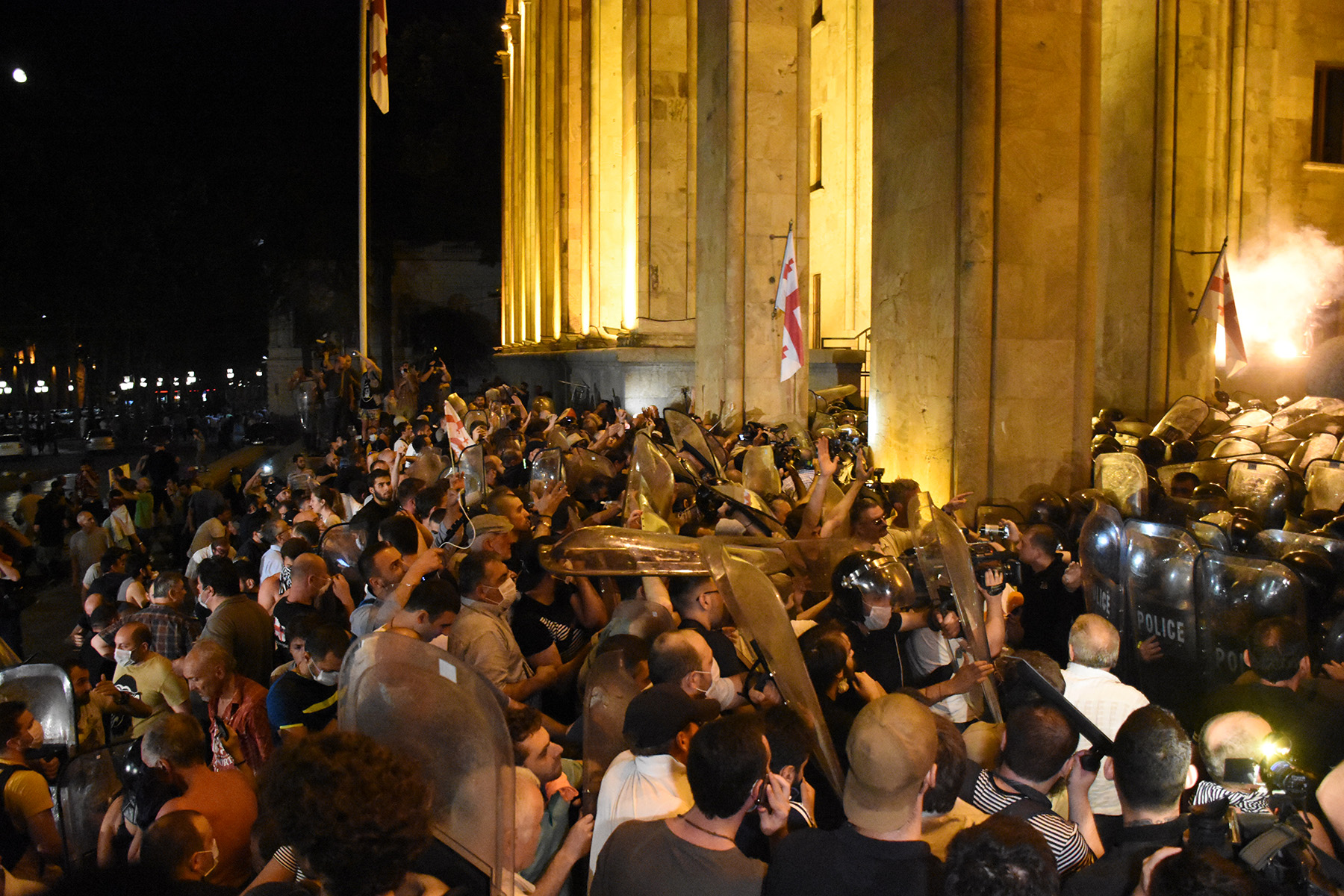 Protesters and police clashed for hours on the night of 20–21 June. Photo: Mariam Nikuradze/OC Media.