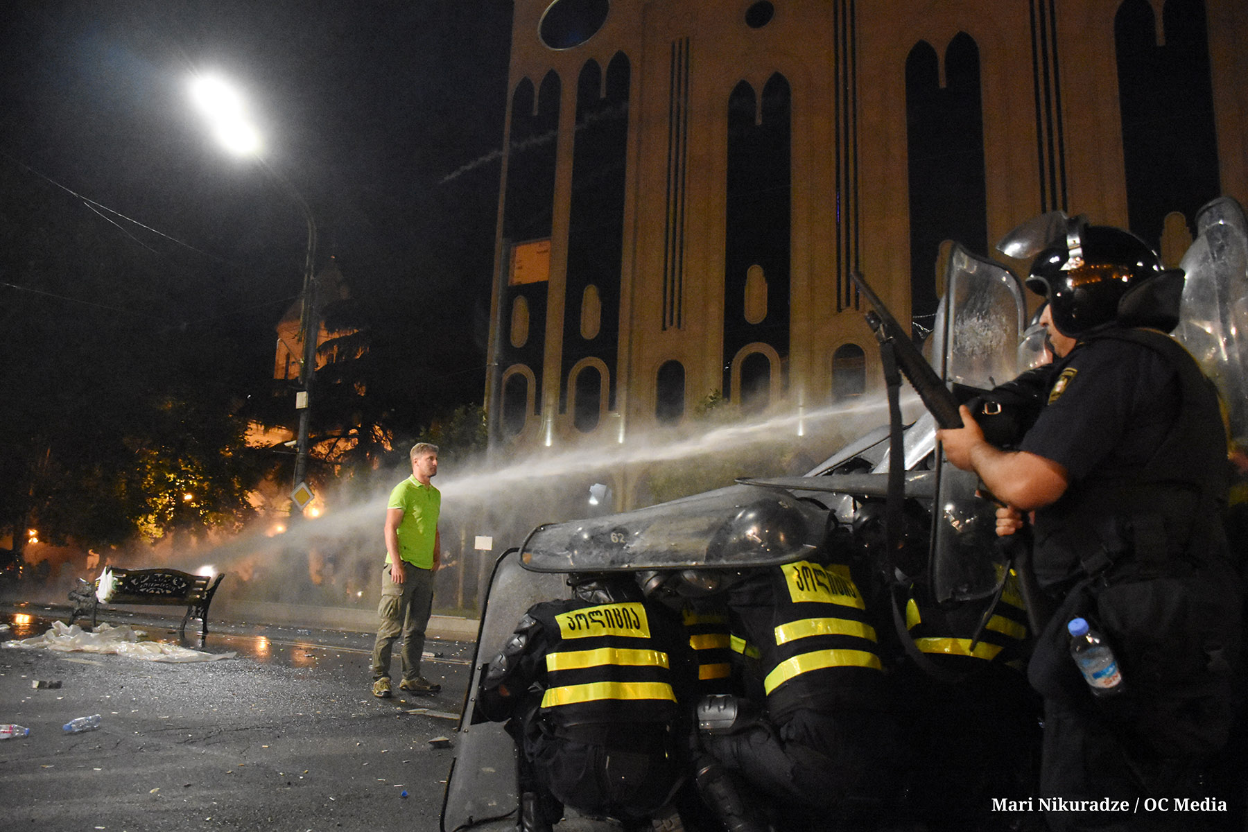 Police deployed a water cannon, tear gas, and rubber bullets against protesters. Photo: Mariam Nikuradze/OC Media.