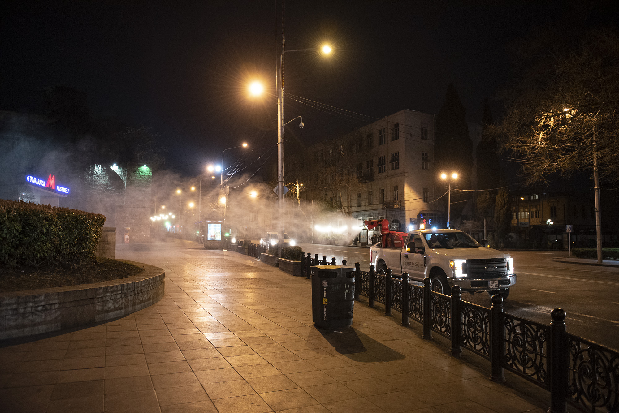 Tbilisi City Hall started disinfecting streets on 25 March. Photo: Mariam Nikuradze/OC Media.