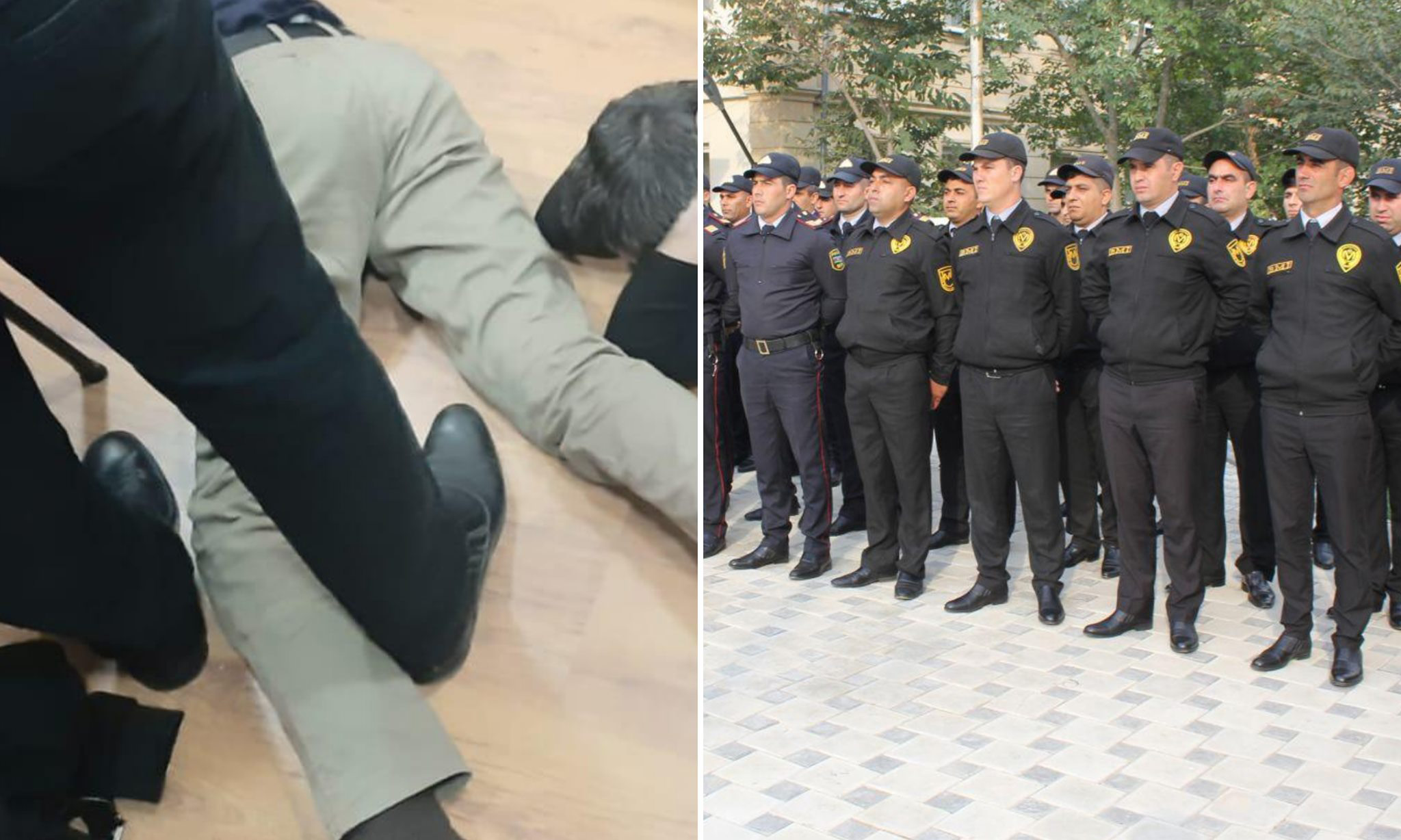 The shoes of one of the alleged police officers was similar to standard-issue shoes warn by the police. Image via Habib Muntazir.
