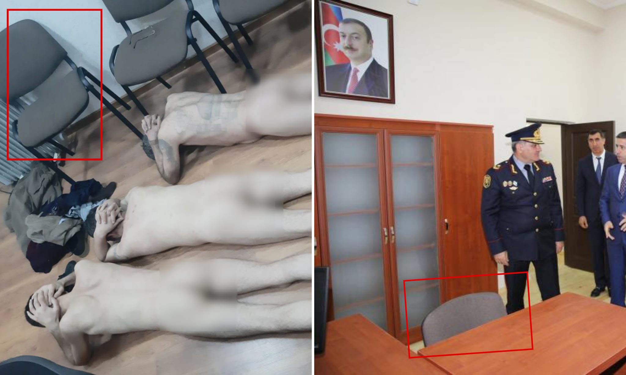 Muntazir said that the furniture and chairs in the photos matched the standard furnishings in Azerbaijani police stations. Image via Habib Muntazir.