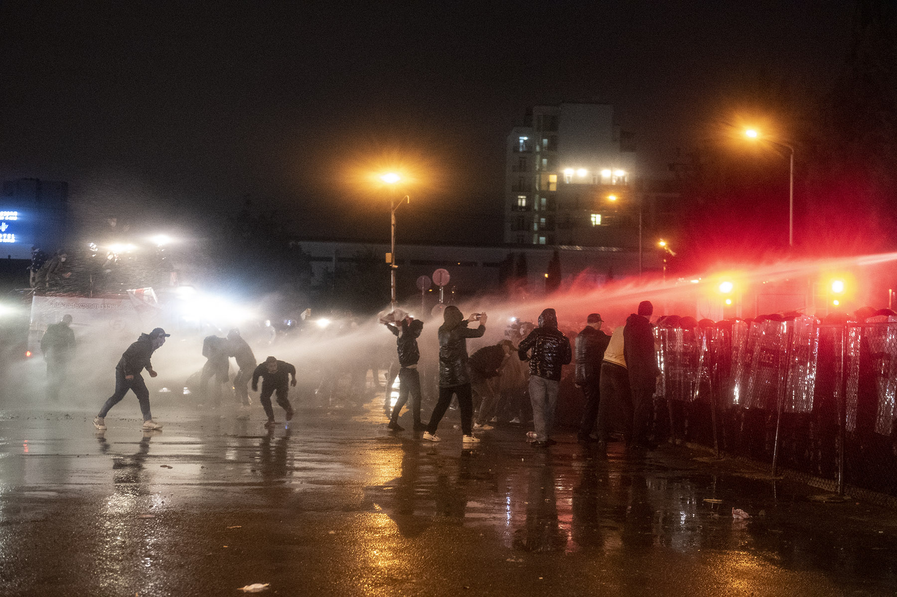 Police deployed water cannons several times throughout the night. Photo:MariamNikuradze/OCMedia.