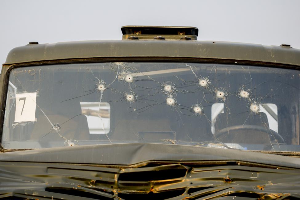 A bullet-ridden truck in Nagorno-Karabakh. Photo: Ahmad Mukhtar.