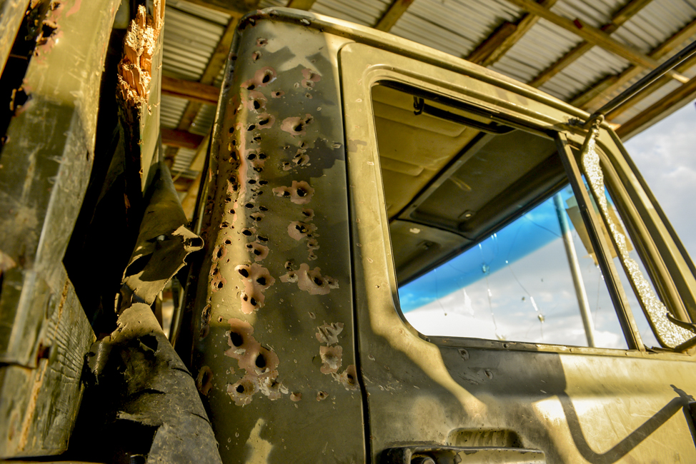 A damaged military vehicle captured by Azerbaijani forces. Photo: Ahmad Mukhtar.