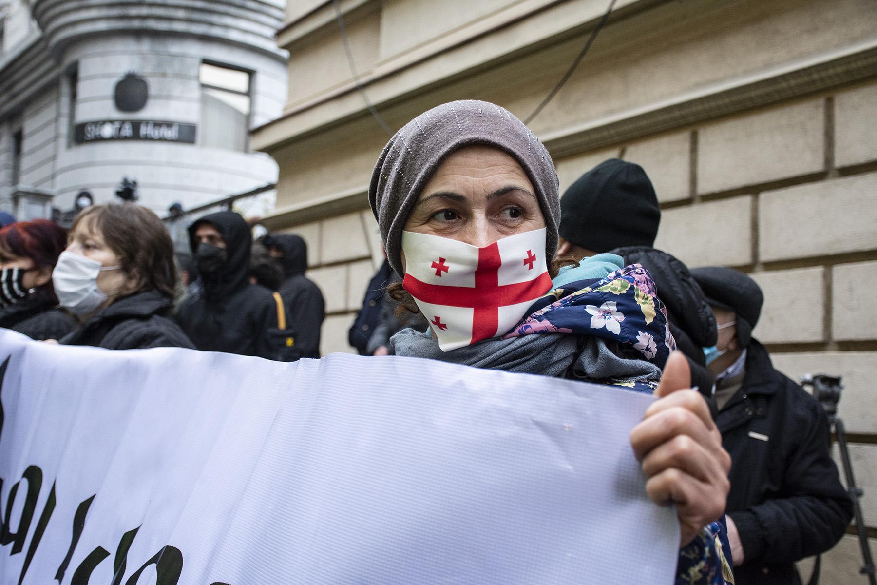 Protester outside of Georgia's Parliament. Photo: Mariam Nikuradze/OC Media.