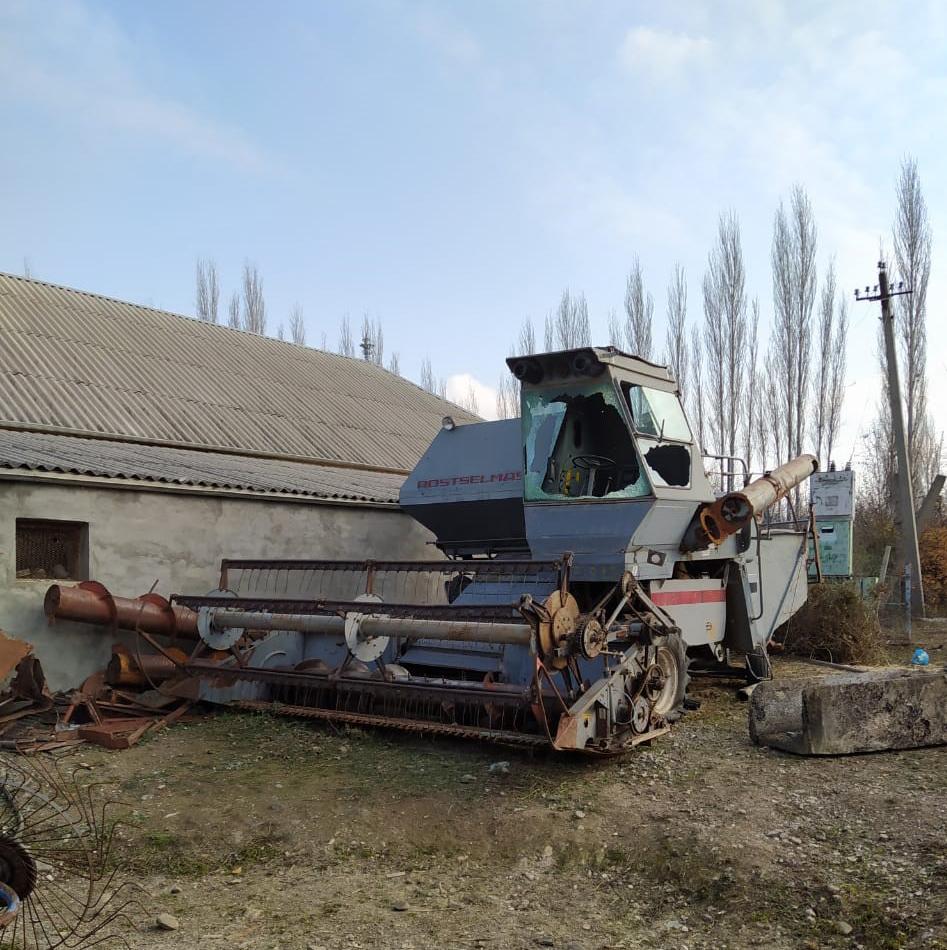 Farm equipment damaged by shelling. Photo: Sanubar Heydarova.