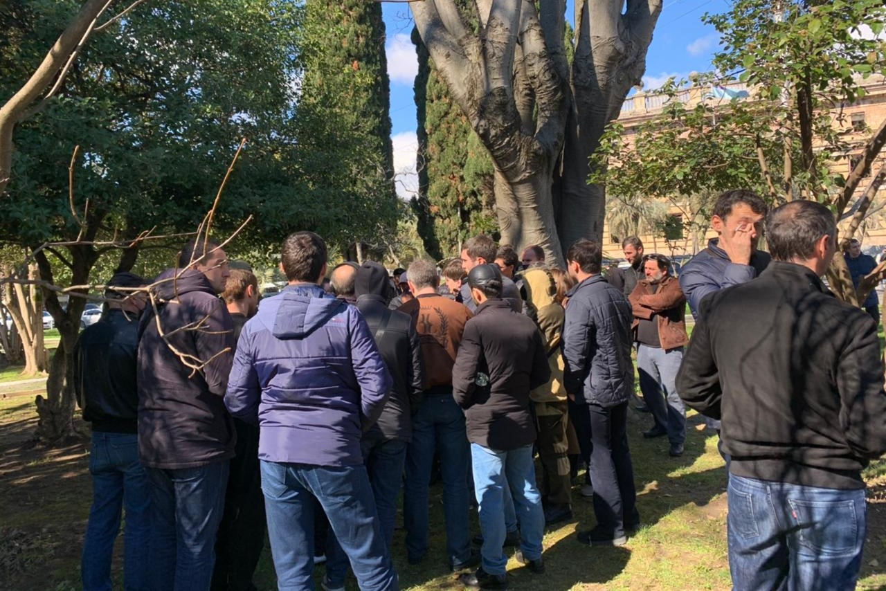 Roughly 200 people came out to protest after an Abkhazian presidential aide visited Georgia. Marianna Kotova/OC Media.