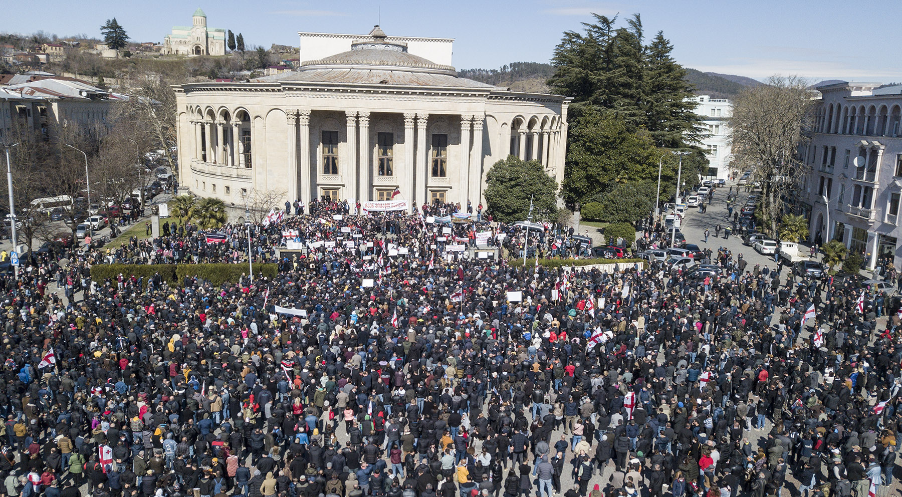 Protesters gathered in Kutaisi's central square. Photo: Mariam Nikuradze/OC Media.