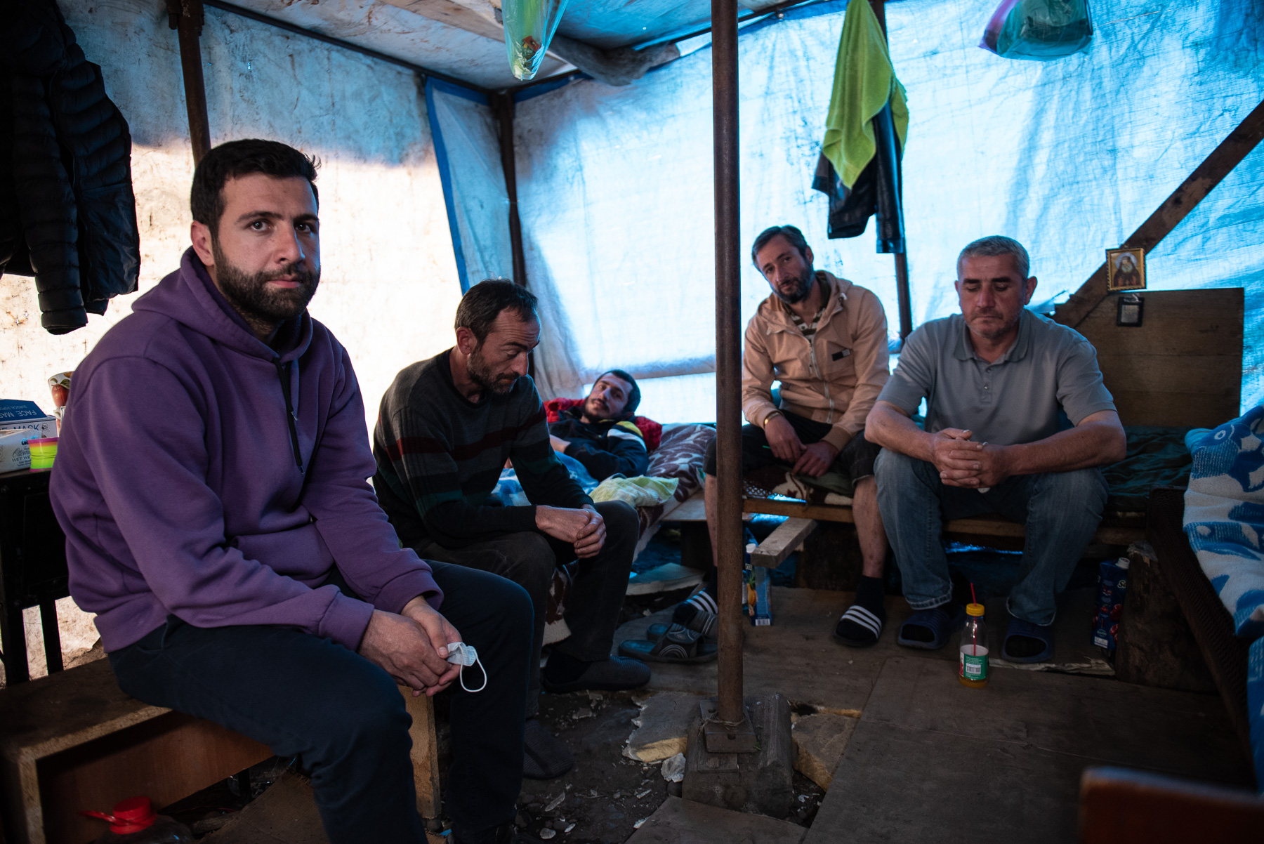 Five men sewed their lips together two weeks ago. Photo:MariamNikuradze/OCMedia.