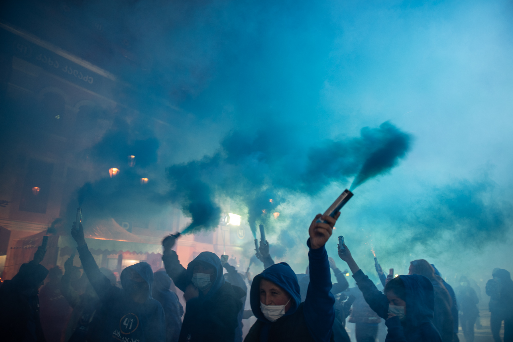 Celebrations outside the Georgian Dream HQ on Saturday evening. Photo: Mariam Nikuradze/OC Media/