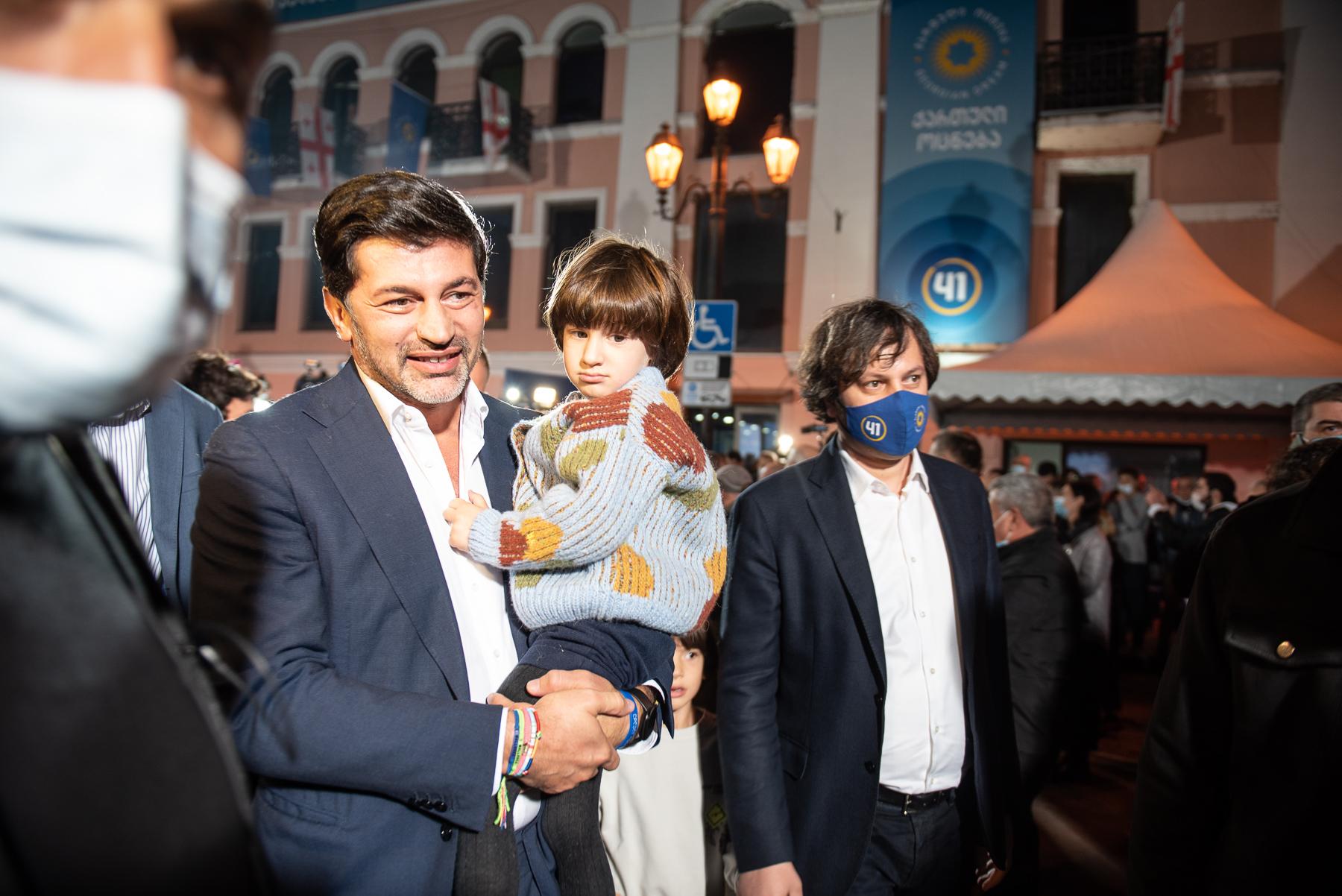 Kakha Kaladze with his son (left) and Irakli Kobakhidze (right). Photo: Mariam Nikuradze/OC Media/
